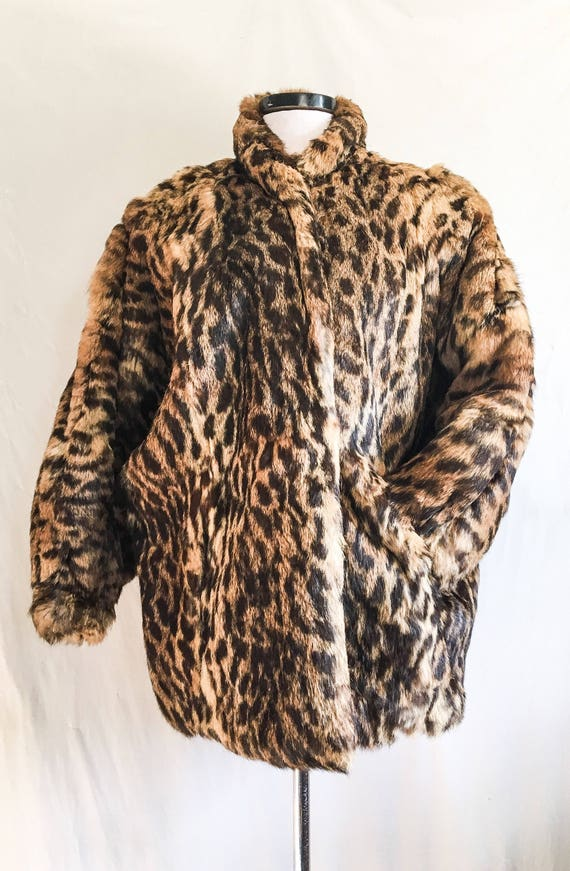SALE VTG Leopard Print Coat / Rabbit Fur Jacket /… - image 5