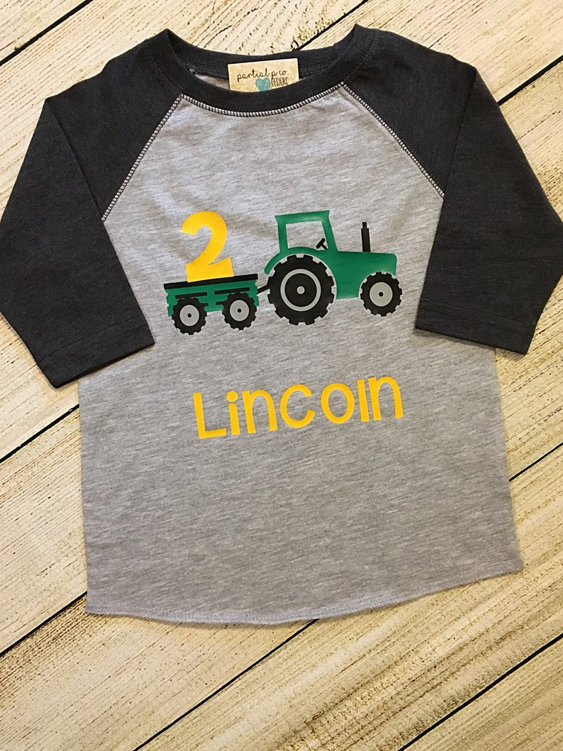 0203fd231 Tractor Birthday Raglan OR T-Shirt Choose numberRed or | Etsy