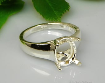 Sterling Silver Pre-Notched RING Setting Oval with Accents 6x4-8x6 ID#163-672