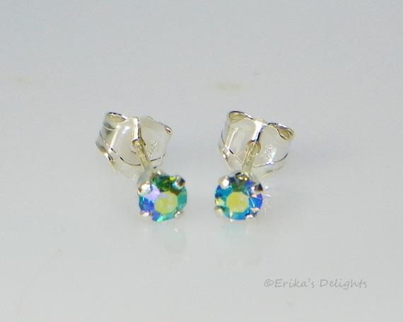 925 Sterling Silver 2mm Small Tiny Aqua AB Aquamarine Crystal Stud Earrings GIFT