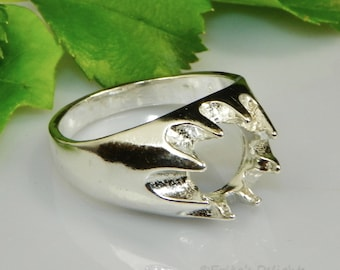 Round Men's Gypsy (8mm - 10mm) Sterling Silver Ring Setting (Casting - Mount )