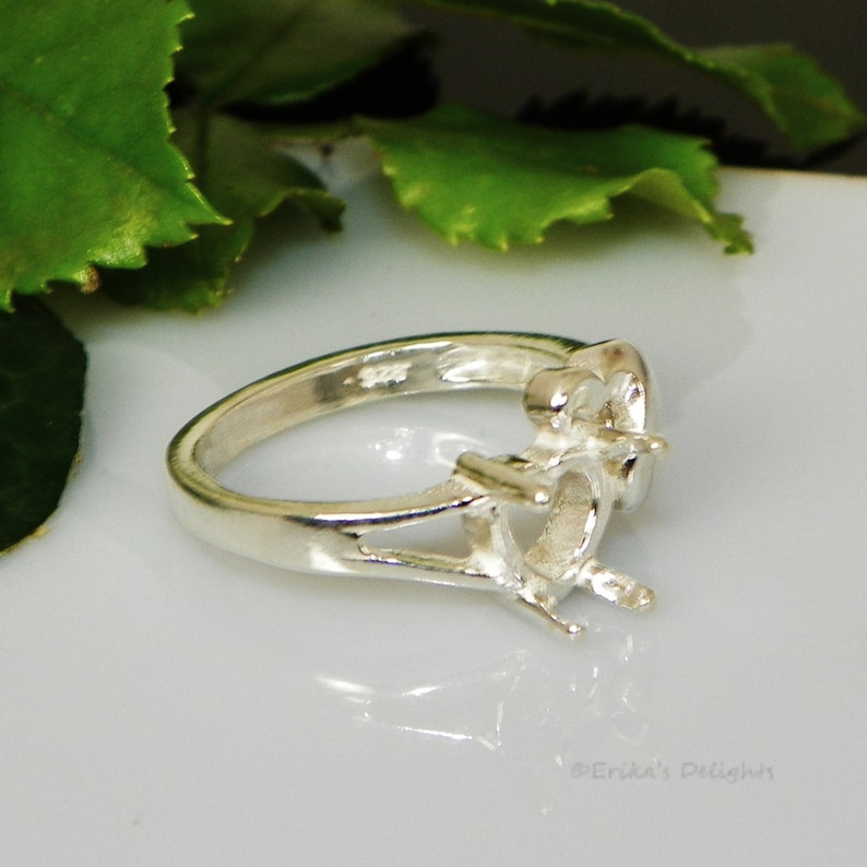 8mm Fancy Heart Sterling Silver Pre-Notched Ring Setting ID# 163-848
