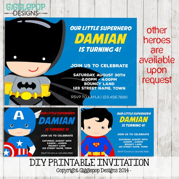 Superhero Printable Invitation First Birthday