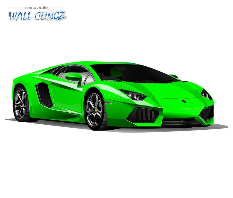 Personalised Green Sports Car Printed Wall art sticker boys bedroom Decal room..