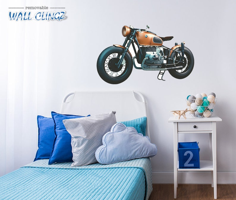 BMW Cafe Racer Wall Decal Wall Decals Man Cave Decor Car Wall Stickers Wall Graphic Decal BMW Cafe Racer Garage Wall Decor