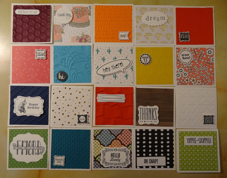 TINY CARDS: 3 x 3 mini cards, blank inside with envelopes [Set of 8] ***You  Design!***