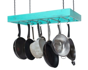 Hanging Pot Rack - Wooden - Ceiling Mounted - Rectangular - Large - Hang Kitchen Pots and Pans