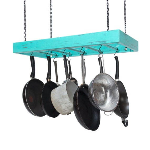 Hanging Pot Rack Wooden Ceiling Mounted Rectangular Etsy