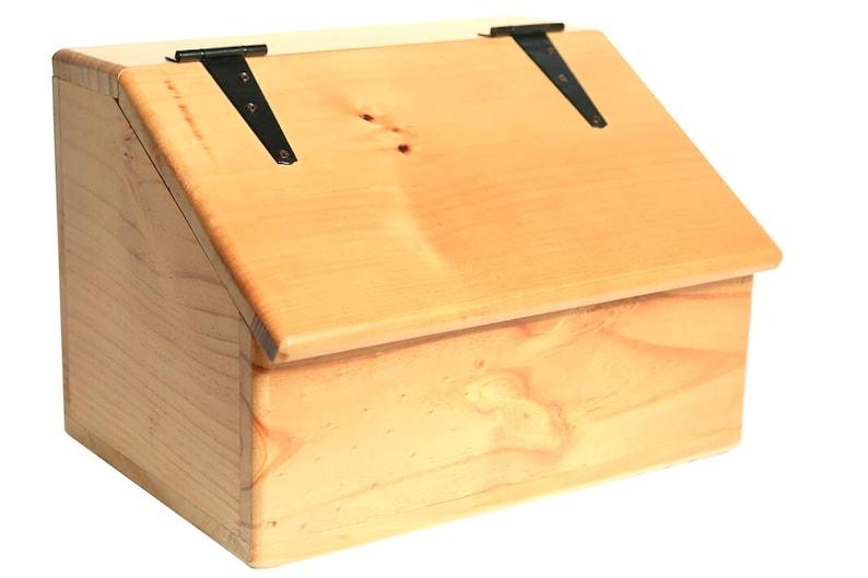 Storage Box  Wooden  Sloped Top  Hinged Lid  Versatile image 0