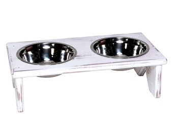 Dog Bowl and Cat Bowl Stand - Wooden - 2 Bowls - Perfect for serving your Cat or Dog their Food and Water