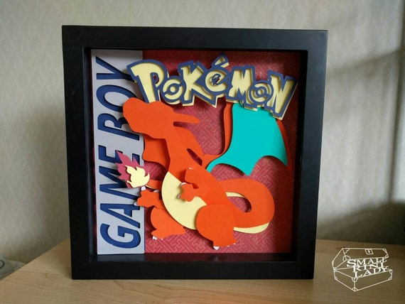 Pokemon Pikachu And Eevee Layered Paper Art Piece 8 X8 Shadowbox Frame