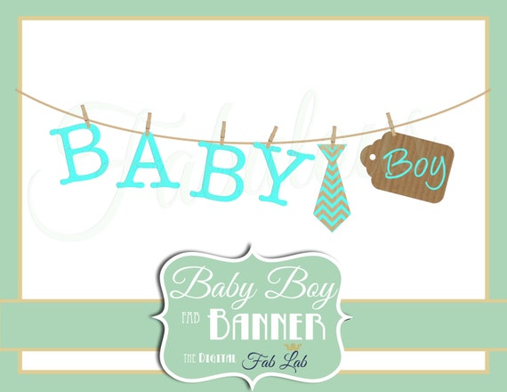 Baby Boy Banner Digital Clipart Rustic Clothes Line Etsy