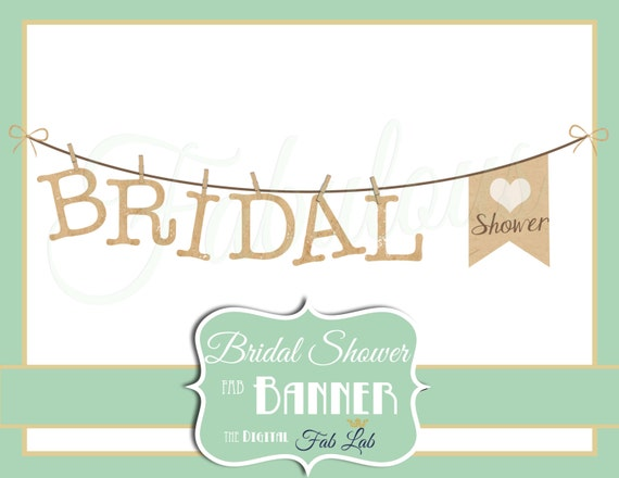 Bridal Shower Clipart Banner Digital Rustic