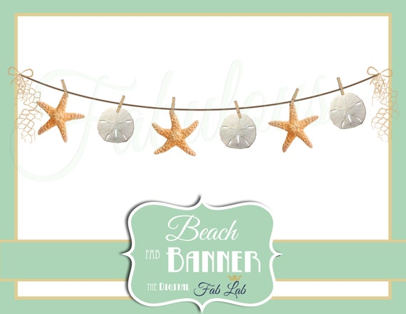 Beach Clipart Star Fish Sand Dollar Banner Digital Rustic Clothes Line Scrapbook PNG From DigitalFabLab On Etsy Studio