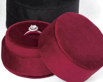 Burgundy Velvet Round Plush Single Ring Box, Proposal, Wedding, Anniversary Ring Box, Eva Collection