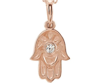 14K Rose Gold .03 CTW Diamond Hamsa Hand Necklace Design 18 inches, Hand of Fatima, Hand of Miriam