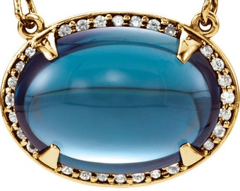 14k Yellow Gold Genuine London Blue Topaz & Diamond Halo Necklace with 14 x 10 MM AAA Oval Cabachon, 16 inches long