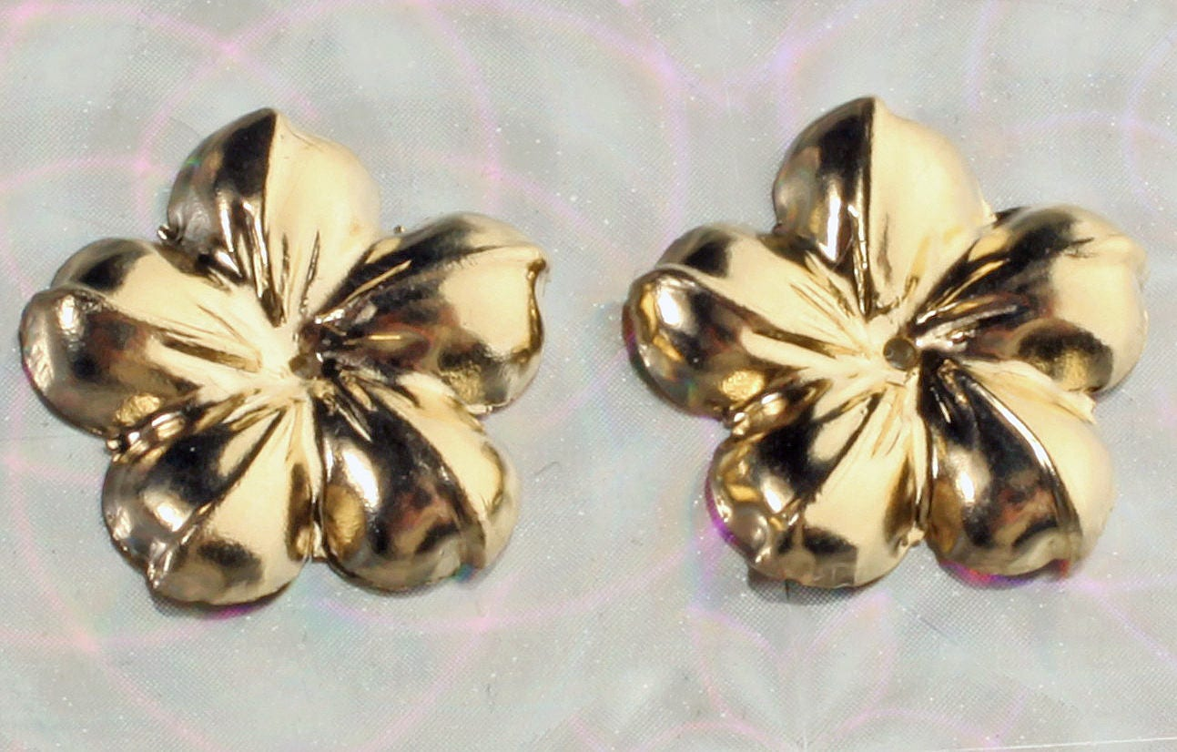 Pair Solid 14k Yellow Gold 13mm Hawaiian Flower Earring Jackets For