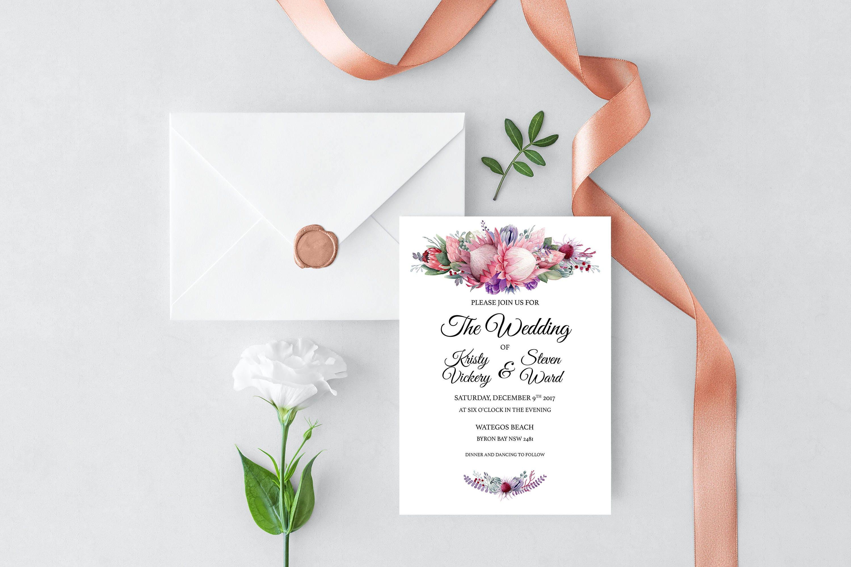 Native American Wedding Invitations: Printable Native Florals Wedding Invitation