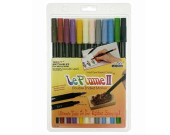 Book Coloring 24 Pastel Pro Fine Brush Tip Paint Markers Scrapbooking Alchohol Based Marker Pens; Uchida Le Plume Rubber Stamp Anime