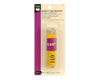 Dritz Quilter's 3/4 by 120-Inch Soft Tape Measure, Measuring Tape; Sewing, Seamstress, Yellow Tailor Cloth Flexible Ruler Tape