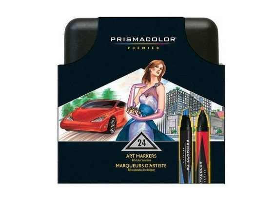 24 Prismacolor Premier Double Ended Markers Fine And Chisel Tips Drawing Blending Shading Rendering Prismacolor Arts Crafts Gift Set