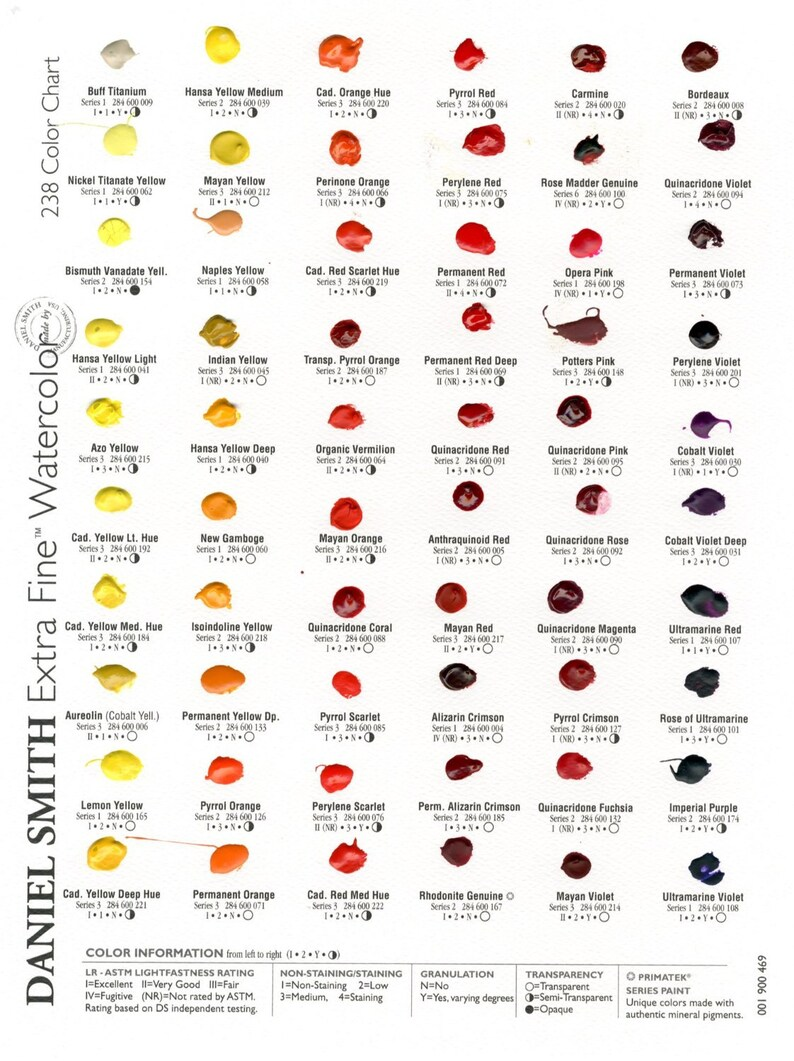 Charte De Couleur Daniel Smith Aquarelle Extra Fine 238 Dot Etsy
