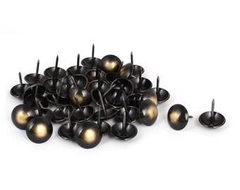 "40 Black Upholstery Tacks, Upholstery Nails, Black Furniture Upholstery Nail Heads, Leather Tacks, Thumbtack, Bronze 3/4 inch, 0.75"", 19mm"