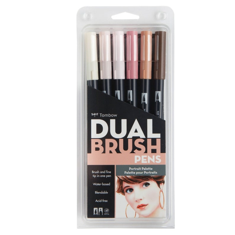 Dual Brush & Fine Pen Markers 6 Set, Portrait Colors, Skin Tones