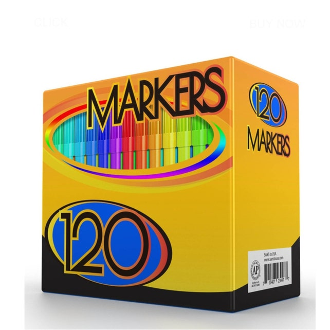 120 Colored Markers Washable Adult Coloring Book Drawing