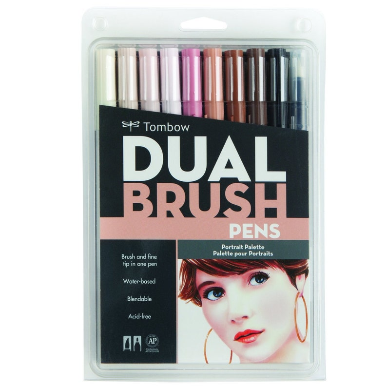 Dual Brush & Fine Pen Markers 10 Set, Portrait Colors, Skin Tones