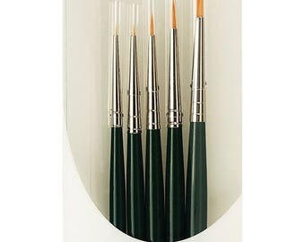 Paint Brush; Da Vinci Series 4237 Nova Miniature Round 5 Brush Set for Spotting, Retouching, Detail, Watercolor, Model Paint, Restoration