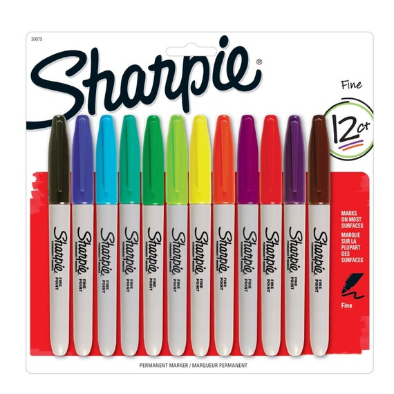12 Color Sharpie Permanent Markers Fine Point Assorted 12 Pack Drawing Coloring Markers Packing And Shipping Sharpie Arts Crafts