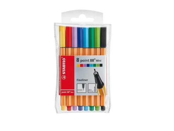 8 Stabilo Point 88 Fine Line Mini Pens Mini Wallet Set Etsy
