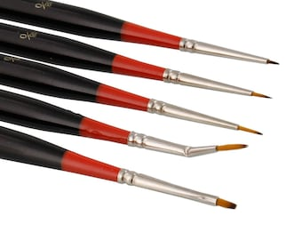 Micro Fine Detail Paint Brushes 5 Piece Set; Precise Detail Painting, Miniatures, Models, Acrylic, Watercolor, Oil, Tight Spot Brushes