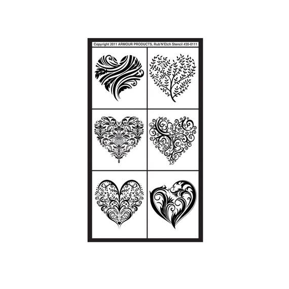 fancy hearts template stencil lettering guide glass etching etsy