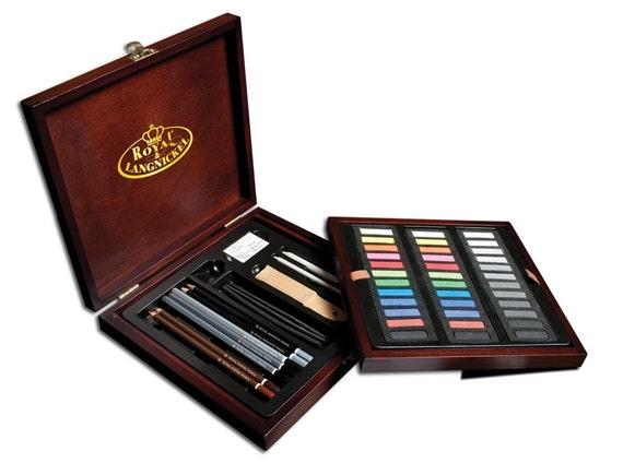 Royal Deluxe Sketching Artist Box Set Kit Art Drawing Charcoal Pencils Pastels