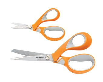 Fabric Craft Scissors, Shears; Sewing Quilting Embroidery Dressmaking Fiskars Set of 8 Inch & 5 inch Titanium Contoured Handles Scissors
