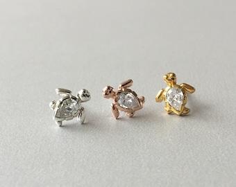 356c120e4cf3 Tiny CZ Sea Turtle Helix Piercing Sterling Silver Turtle helix earring  Tragus Piercing Cartilage Earring Conch earring 16G
