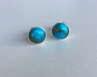 Copper Turquoise stud earrings Turquoise and Sterling silver earrings gemstone earring