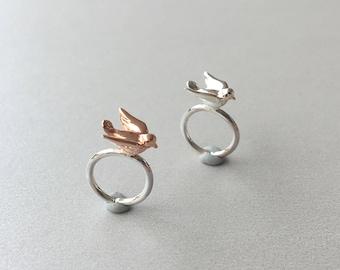 Tiny Bird Sterling Silver Helix Hoop Tragus Piercing Cartilage Hoop Piercing Rook piercing