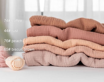 ORGANIC multiple color so soft and breathable crinkly  organic cotton muslin double layer gauze  fabric