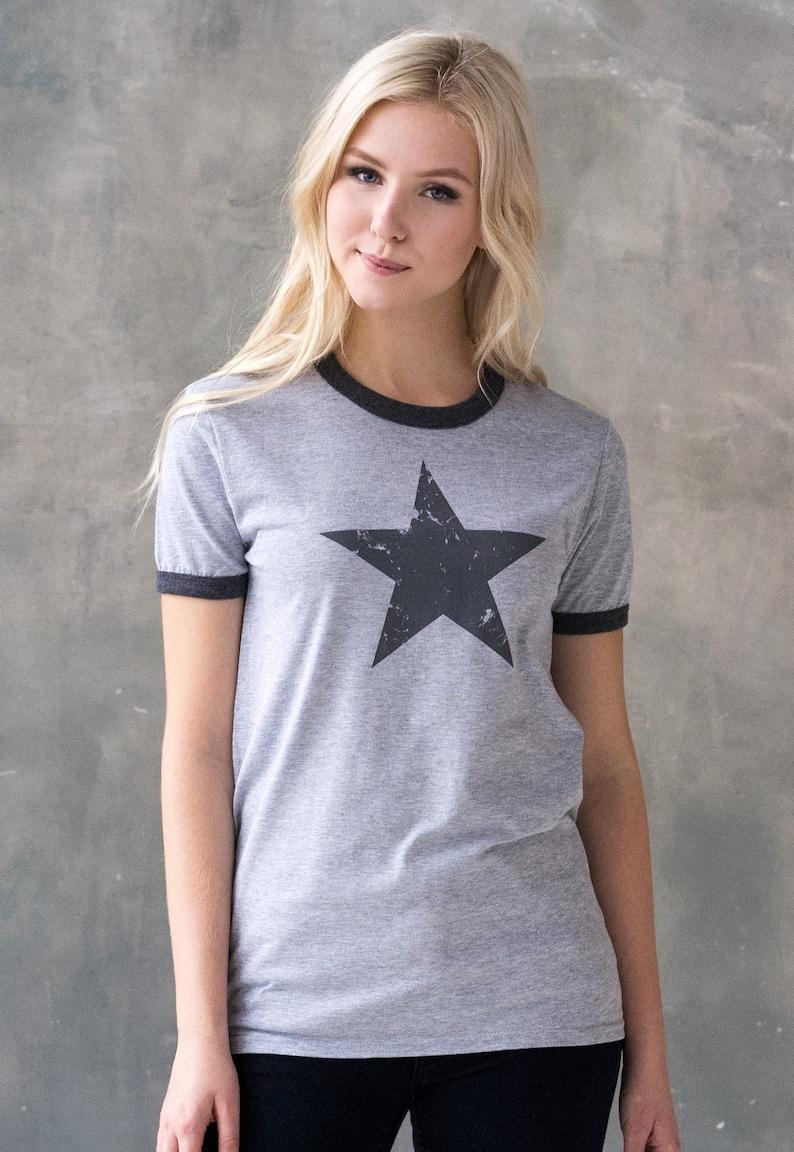 c29bf94a94dd Star Ringer T Shirt Minimalist Abstract Geometric Streetwear | Etsy