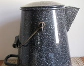 Vintage Enamelware US Navy Water Pitcher Coffee Pot-The Volrath Co. For The USN-Large Blue White Speckled Cowboy Coffee Pot-NICE