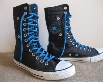 36b213ab4952 Vintage Converse All Stars Boot Cuff Sneakers Chuck Taylor Black    Turquoise XHi Tops 13 Eyelets Good Condition...Reshopgoods