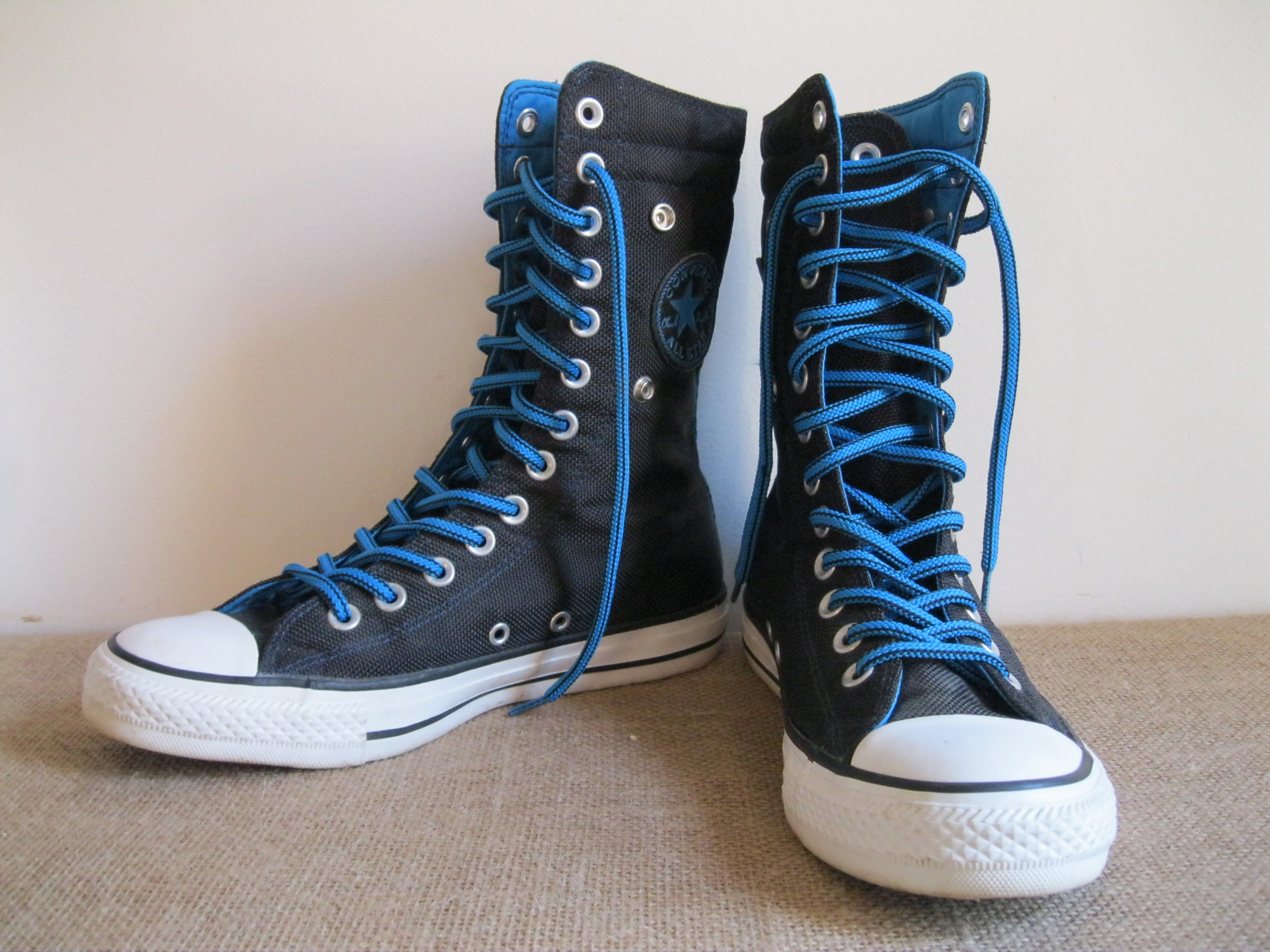 Vintage Converse All Stars Boot Cuff Zapatillas Zapatillas Zapatillas Chuck Taylor negro & Turquoise XHi Tops 13 Eyelets Good Condition...Reshopgoods 5f268e