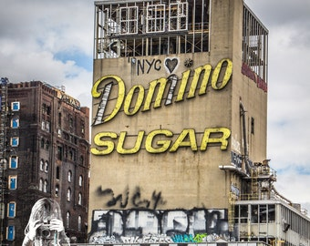 Domino Sugar Factory - INSTANT DIGITAL DOWNLOAD - Square Format  - The home of Brooklyn, New York's giant graffiti piece.