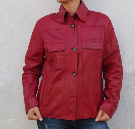 Vintage Leather Jacket Leather Shirt 80s 90s Red … - image 10