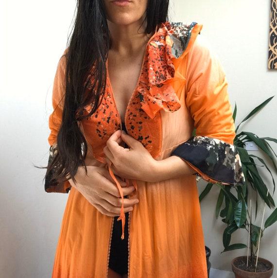 Vintage 1970s Nightgown Kimono Style Floral Orange