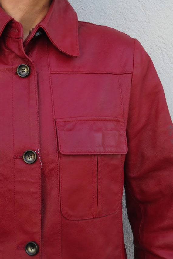 Vintage Leather Jacket Leather Shirt 80s 90s Red … - image 9